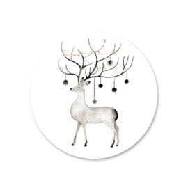 Sticker sluitzegel kerst wit hert  - 10 stk