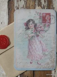 Kaart met envelop /  Vintage meisje postcart / CE
