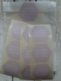 Stickers / Hieperde Piep Hoera roze / 20 stks