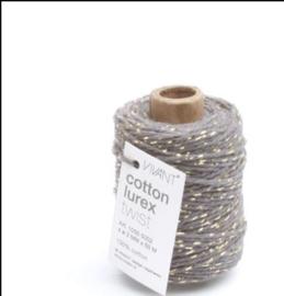 Katoen koord | donker grijs goud lurex | 50m