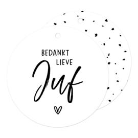 Cadeaulabel | rond wit - Bedankt lieve Juf | pstk