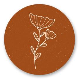 Sticker sluitzegel - bloem roest | 45mm | 10stk