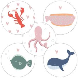 Sticker sluitzegel - ocean life | 40 mm | 20stk