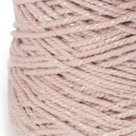 Katoen Koord met Parelmoer draad | Roze| 4m