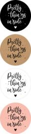 Sticker sluitzegel rond assortie - Pretty things inside | 35mm | 12stk