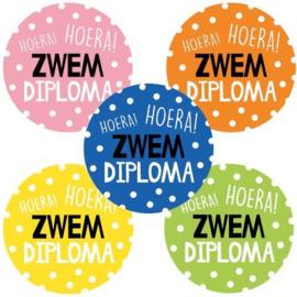 Sticker sluitzegel - Hoera!  Zwem diploma | 10stk