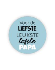 Sticker rond - voor de liefste --- Papa   blauw   5 stuk