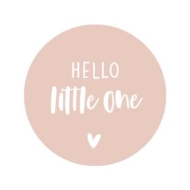 Sticker roze - hello little one | 45mm | 10stk