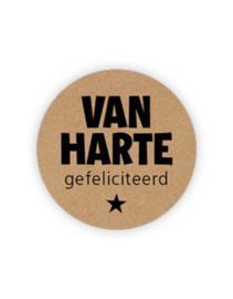 Sticker - rond kraft - Van Harte Gefeliciteerd | 35mm | 10stk