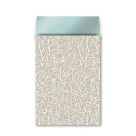 Zakje fine fleur - zand wit petrol - 17x25cm - 5 stuks