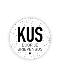 Sticker - rond wit | Kus door je brievenbus | 35mm | 10stk