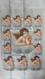 ME 7158 Poezieplaatjes met glitters / engelen op wolk