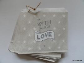 Zakjes klein grijs With much Love | EI 5042 | 5stk