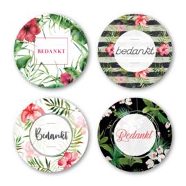 Sticker sluitzegel mix - Bedankt / flora | 40mm | 16 stk
