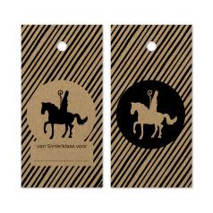 Label kraft gestreept - Sint op paard   5stk