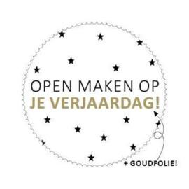 Stickers - sluitzegels / rond wit / Open maken Op je verjaardag - 20stk