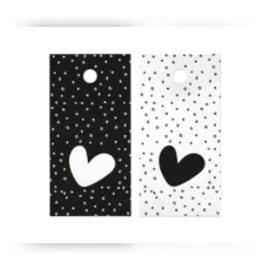 Kado label - kaartje / hartje stippen zwart-wit / 5stk