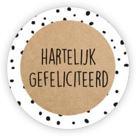 Sticker Hartelijk gefeliciteerd / kraft/stip / 10 stk