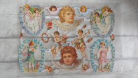 ME 7164 Poezieplaatjes met glitters / engelen met bloemen