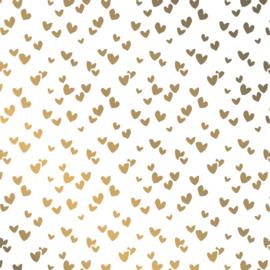 Vloeipapier / wit met gouden  hartjes / 50x70 cm / 5 stk