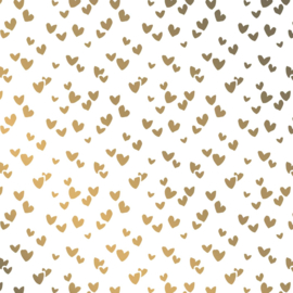 Vloeipapier -tissuepapier | wit met gouden  hartjes multi | 50x70 cm | 5 stk