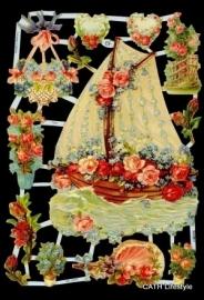 ME 7223 Poezie plaatjes zeilboot / bloemen