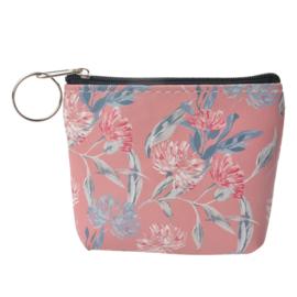 Beursje / portemonnee | roze met bloemen