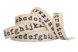 Band - katoen - bedrukt -typewriter letters - 15mm - pm
