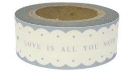 "EI 4752 Rol paper tape ""LOVE IS ALL YOU NEED"" wit met grijze tekst"