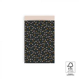 Zakje multi confetti dark grey | 12x19cm | 5stk