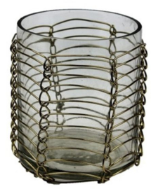 Waxinelichthouder glas goud draad