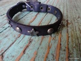 BIBA Armband / leer purple met ster