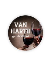 Sticker rond - Van Harte gefeliciteerd - proost | 35mm | 10stk