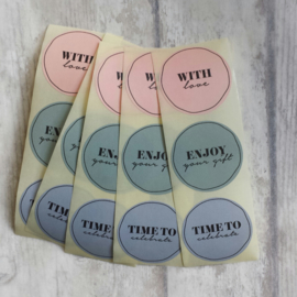 "Sticker / set ""with love"" ""enjoy your gift"" ""time to celebrate"" / 15 stk"