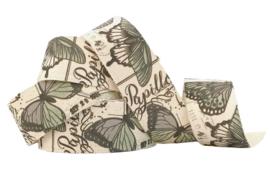 Band / bedrukt / vlinders papillon / 28mm / pm