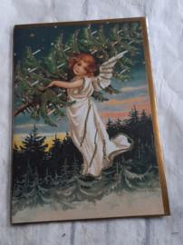 Kerstkaart - Engel met kerstboom