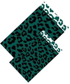Zakjes leopard zwart groen | 12x19cm | 5stk