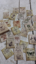 Stickers /  vintage stamps / 46 stk