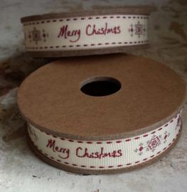 EI 3130 Band 3 meter spoel creme Merry Christmas en sneeuw vlok