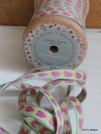 Band/  roze hartjes / Aspegren Denmark