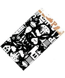 Kado zakjes - Sint - Hop Hop Hop   zwart wit   12x19cm   5stk