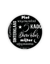 Sticker rond - Sint - 5dec tekst   35mm   10stk