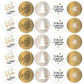 Stickers sluitzegels - kerstprints - chique   10stk