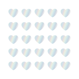Sticker sluitzegel hartjes assorti holografisch folie | 22mm | 15stk