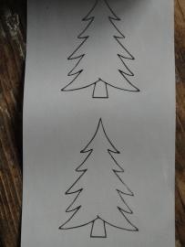 Sticker - fles etiket - Kerstboom zilver transparant 9cm / 5 stk