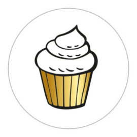 Sticker sluitzegel rond wit - cupcake | 45mm | 10 stk