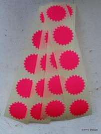 Stickers Ster klein fluor / roze / 20stk