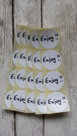 "Sticker zwart/wit tekst - ""Enjoy"" / 20stk"
