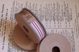 EI 2321 Band 3 meter spoel creme / rood / beige streep