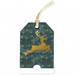 Cadeau kaartje kerst | groen goud hert | pstk